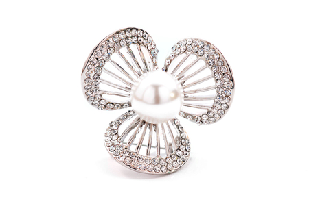silver jewellery: Brooch in the shape of a flower on a white background Stock Photo