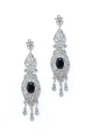 onyx: silver earrings with onyx on a white background