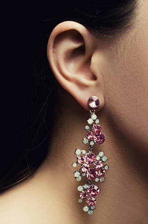 sumptuousness: ear with earring Stock Photo