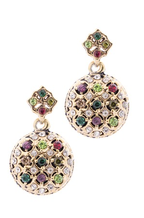 rubellite: Gold earrings inlaid with  gemstones on a white background Stock Photo