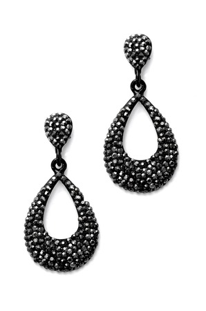 sumptuousness: earrings with black gems on a white background