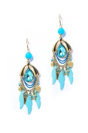 sumptuousness: earrings with aquamarine on the white background