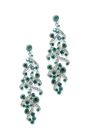 dearness: earrings with emerald   on a white background