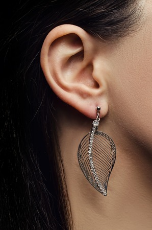 sumptuousness: ear with pearl earring Stock Photo