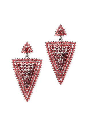 sumptuousness: red triangular earrings inlaid with precious stones on a white background