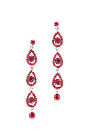 sumptuousness: earrings with ruby on white background Stock Photo