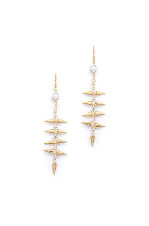 sumptuousness: gold earrings with diamonds on a white background Stock Photo
