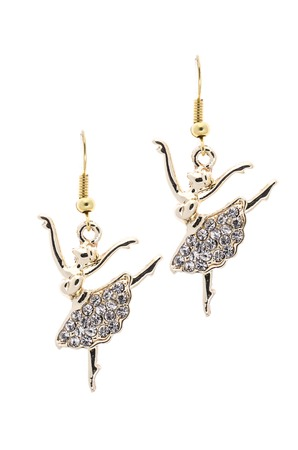 sumptuousness: Gold earrings in the form of a ballerina   inlaid with  gemstones on a white background Stock Photo