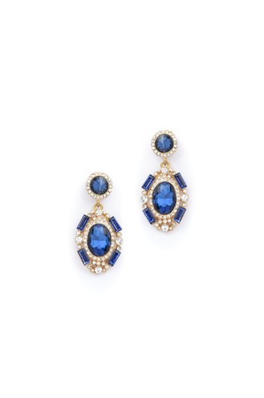 dearness: earrings with blue stones on white background