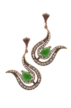 sumptuousness: Gold earrings in the form of harps  inlaid with  gemstones on a white background
