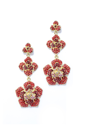 sumptuousness: Earrings  red flowers on a white backgroun Stock Photo