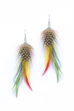 sumptuousness: earrings made of feathers on a white background