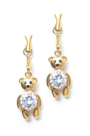 dearness: gold earrings teddy-bear