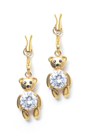 sumptuousness: gold earrings teddy-bear