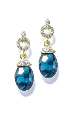 sumptuousness: earrings with sapphire  on the white background
