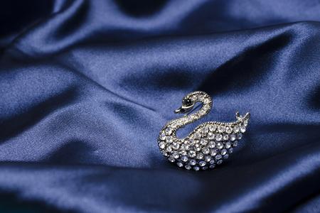 brooch: swan brooch on silk