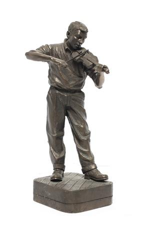 violinista: violinista estatuilla de bronce
