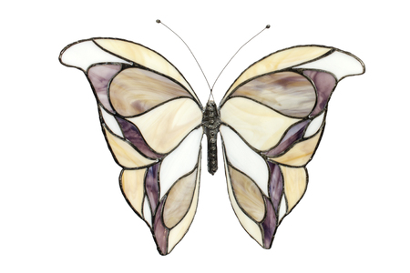 stained glass windows: stained glass butterfly isolated on white Stock Photo