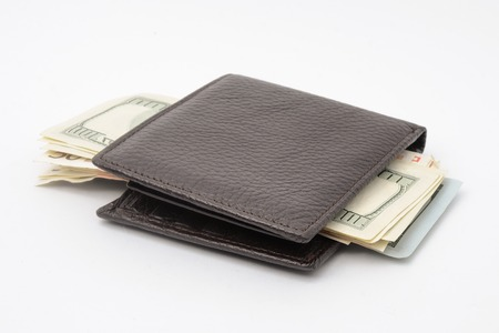 money wallet: wallet with money isolated on white