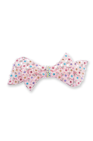 barrette: barrette with pink flowers on a white background
