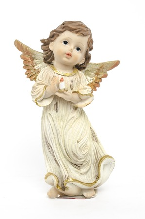 Christmas angel figurine isolated on white Stock Photo