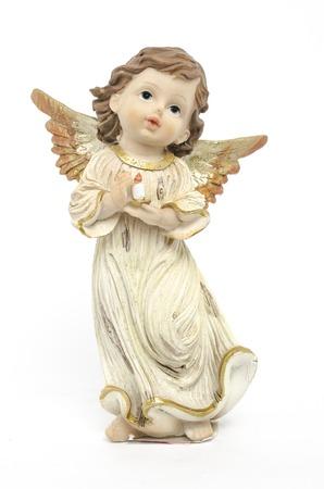 Weihnachtsengel Figur auf weißem isoliert Standard-Bild - 49009105