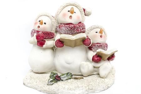 statuette: snowmen statuette isolated on white Stock Photo