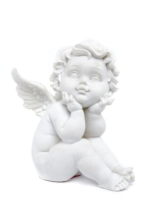 cherub: cherub statuette isolated on white