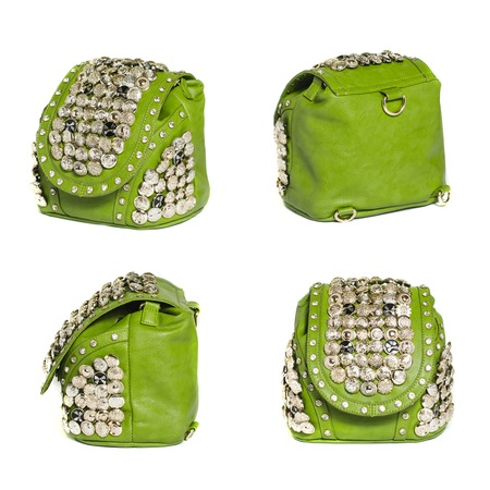 packsack: green bag in the four angles Stock Photo