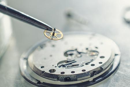 tweezers and disassembled mechanical watches Standard-Bild