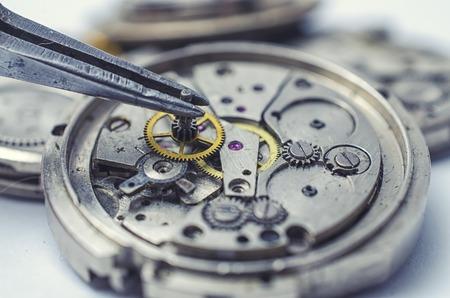 pinzas: pinzas y los relojes mec�nicos desmontados
