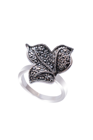silver ring: Silver Ring with leaf on a white background Stock Photo