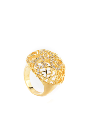 girdle: gold ring with flowers on a white background