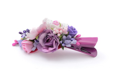 hairpin: hairpin with flowers isolated on white Stock Photo