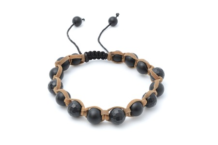 jewlery: Bracelet with black beads isolated