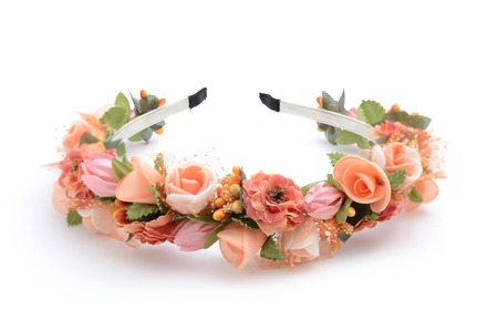 flower head: wreath with flowers isolated Stock Photo