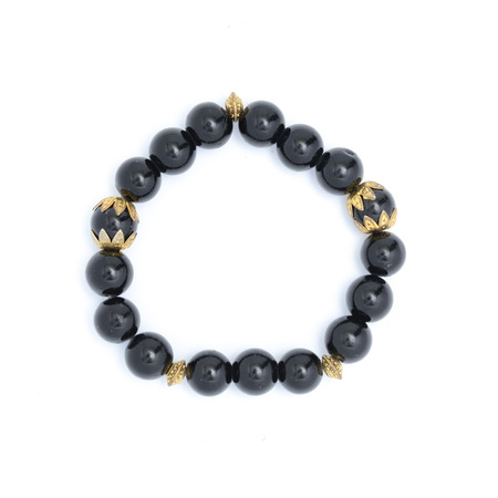jewlery: Bracelet with black beads isolated