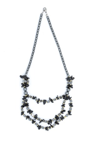 black stones: Necklace with black stones isolated