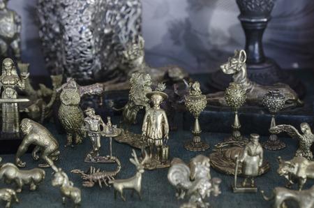 figurines: bronze figurines at street market Stock Photo