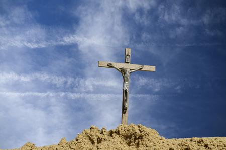 crucifix: crucifix against blue sky