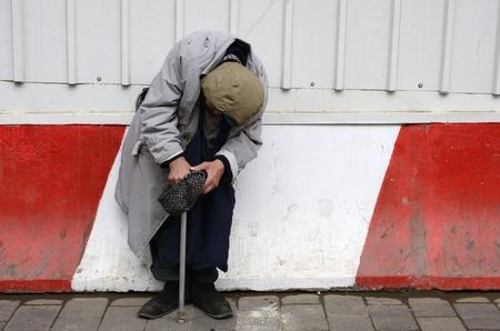 pathetic: beggar asks for alms, beggar asks for money