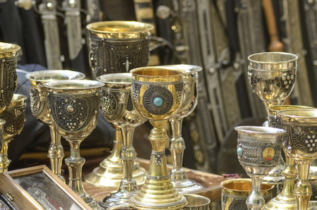 grail: copper goblets in the flea market, wine goblets