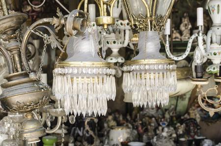 vintage chandelier: vintage chandelier at street market Stock Photo