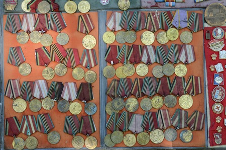 war decoration: Old military medals collection Stock Photo