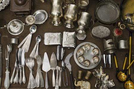 street market: Many old kitchenware, street market Stock Photo