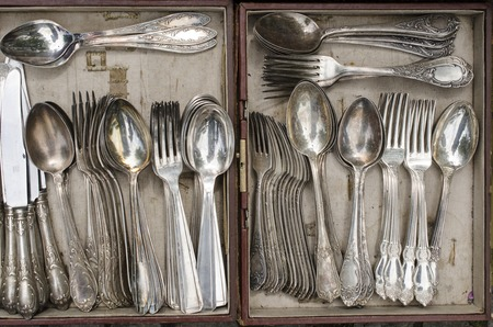old spoons in a box