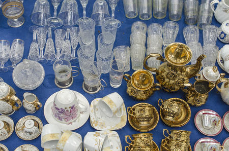 antiques: antiques crockery at street market