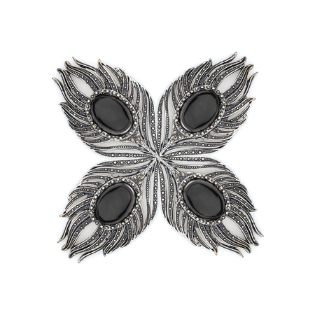 onyx: brooch feathers isolated on white Stock Photo