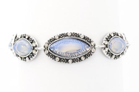 moonstone bracelet isolated on white Stock Photo