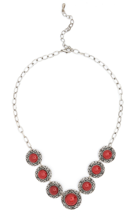 stones isolated: necklace with red stones isolated on white Stock Photo